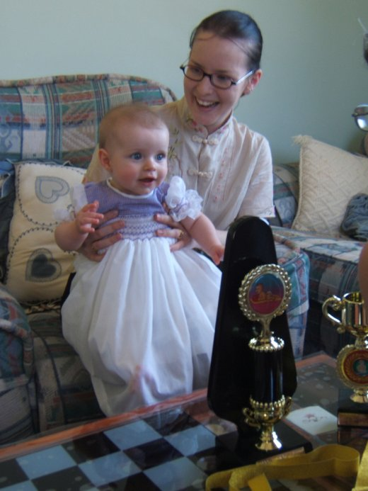 Genevieve with her trophies